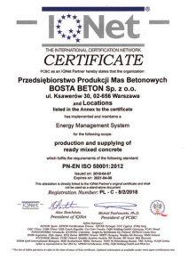 Certyfikat BostaBeton IQNET EMS ISO 50001