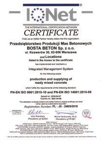 Certyfikat BostaBeton IQNET IMS ISO 9001 ISO 140001
