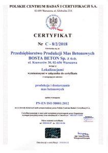 Certyfikat BostaBeton PN-EN ISO-50001:2012