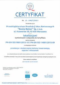 Certyfikat BostaBeton PN-EN ISO-9001:2015 PN-EN ISO 14001:2015-09
